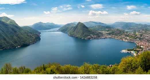 Panorama of lake Lugano with Monte San Salvatore and Lugano town from Monte Bre, Ticino, Switzerland