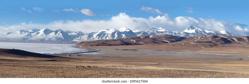 Panorama of Lake Manasarovar in Ngari, Western Tibet, China. According to the Hindu religion, the lake was first created in the mind of the Lord Brahma after which it manifested on Earth