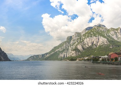 Panorama of the lake opposite the town of Lecco
