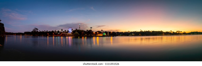Panorama of Lake Pampulha in sunset. Belo Horizonte, Minas Gerais, Brazil.