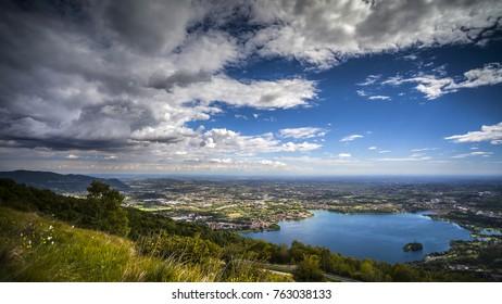 Panorama of Lake Pusiano from Mount Cornizzolo