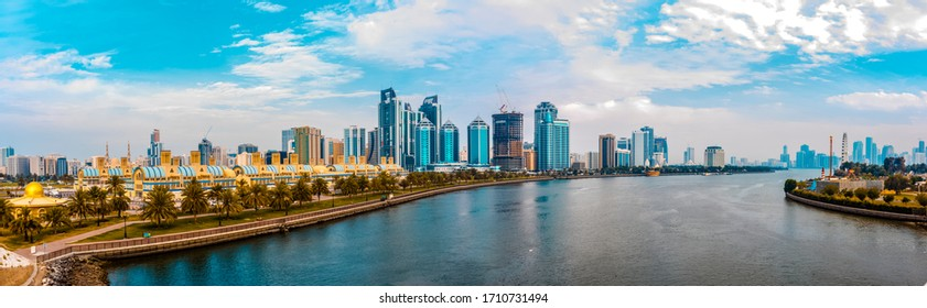 Panorama of a lake with  sky in sharjah city