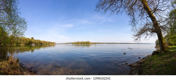 Panorama of lake of Starnberg, Bavarian mountains, Germany in summertime