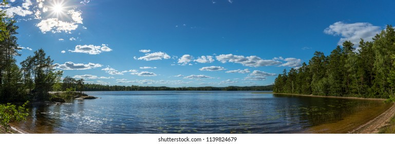 Panorama of a lake in Sweden at a beautiful summer day, Eksjö region