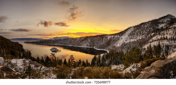 Panorama of Lake Tahoe's sunrise over Emerald Bay
