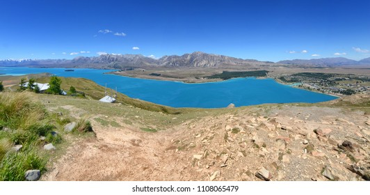 Panorama of Lake Tekapo, South Island New Zealand