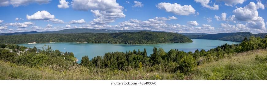 Panorama lake waters emeralds in the Jura, France, Lake Vouglan