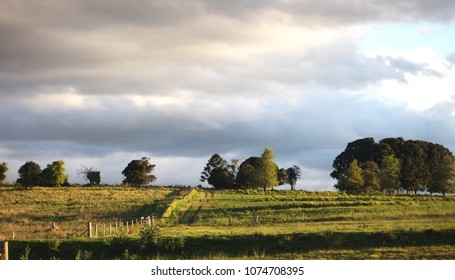 Panorama landscape of beautiful rural countryside showing trees on ridge with cloudy sky background, near Kingaroy, Queensland Australia