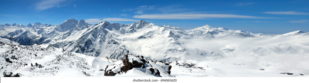 Panorama of Landscape of beautiful slopes of the Caucasus Mountains, Elbrus