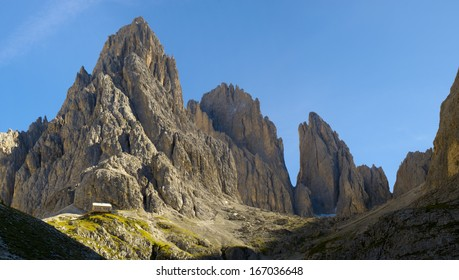 panorama landscape at dolomites in alps mountains with Plattkofel peak