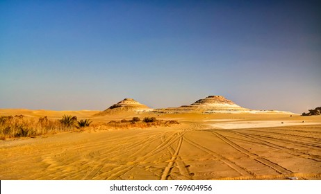 Panorama landscape at Great sand sea around Siwa oasis at Egypt