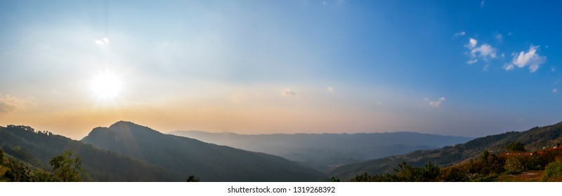 Panorama landscape high view of mountain view with sun rise in the morning at Chiangrai, Thailand