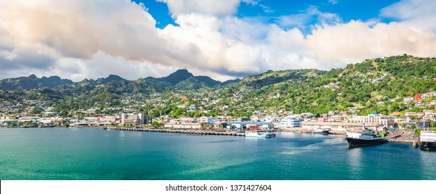 Panorama landscape of Kingstown harbor, Saint Vincent.