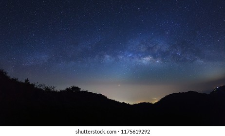 Panorama landscape Milky Way Galaxy at Doi Luang Chiang Dao high mountain in Chiang Mai Province, Thailand