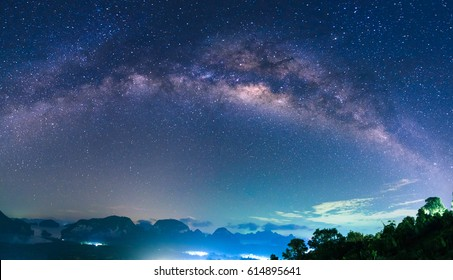panorama of Landscape with Milky Way Night sky with stars