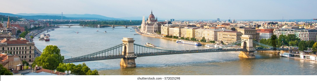 The panorama  landscape of the Parliament and the bridge over the Danube in Budapest, Hungary, Europe
