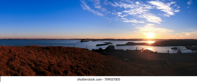 Panorama landscape picture of Point Samson during the sunset, north west of Perth, Australia.