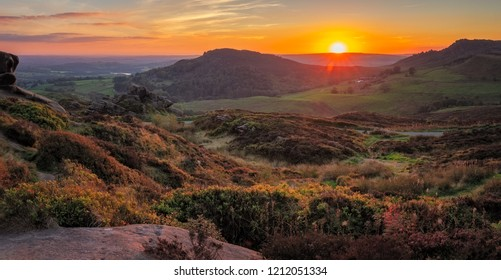 Panorama Landscape of Ramshaw Rocks at sunset in Peak District National Park, Uk.