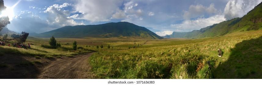 Panorama landscape of Savanna field in Bromo Tengger Semeru National Park, East Java, Indonesia.