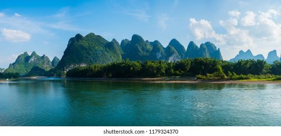 Panorama landscape view at Guilin, Li river and Karst Mounatin