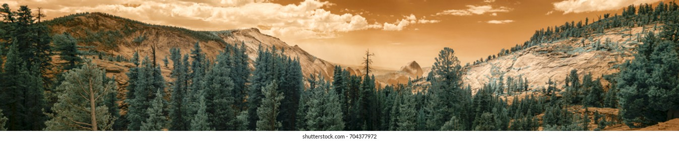Panorama of landscape of Yellowstone National Park, California with Half Dome in infrared.
