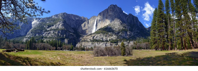 Panorama landscape of Yosemite Falls swollen with Spring snowmelt, Yosemite National Park, California
