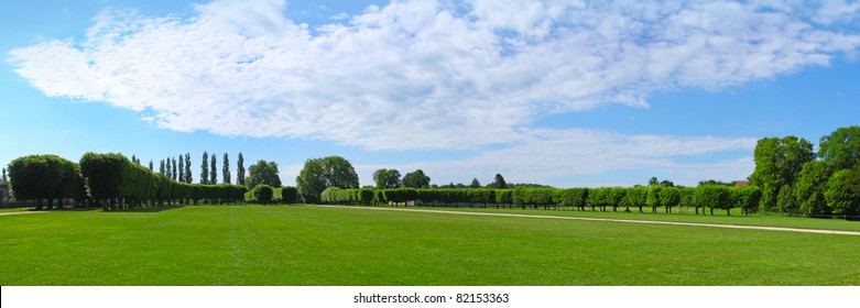 Panorama, landscaping architecture of royal  Chateau de Chambord Loire-et-Cher, France