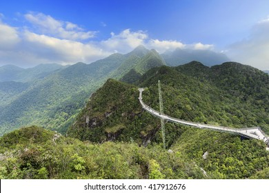 Panorama of Langkawi Sky Bridge view from a higher vantage point