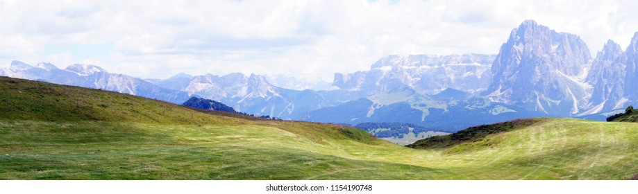 Panorama of the  Langkofel - Sasso Lungo and other mountains in the  Dolomites Alps, Italy