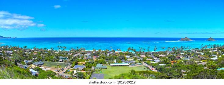 Panorama of Lanikai Beach seen from the pillbox trail in Hawaii