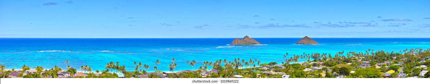Panorama of Lanikai Beach seen from the pillbox trail in Hawaii