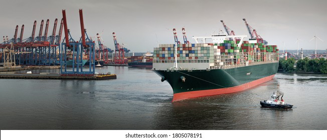 Panorama of a large container ship in the port of Hamburg