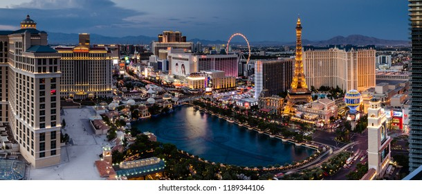 Panorama of the Las Vegas Boulevard and Bellagio Lake Como in Las Vegas, Nevada, USA on the evening of 12th August 2018
