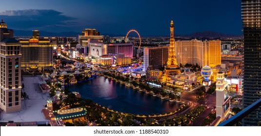 Panorama of the Las Vegas skyline at night in Las Vegas, Nevada, USA on 12th August 2018