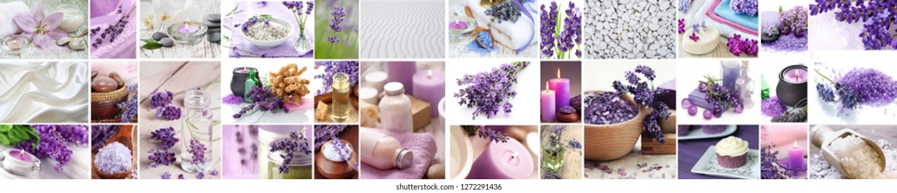 Panorama of lavender spa - aromatic oil, scrub, candle, and handmade soap. Violet beautiful collage. Horizontal view for a glass panels (skinali)