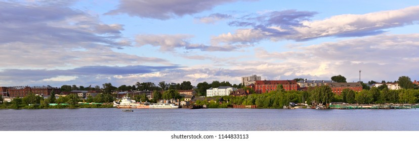Panorama - the left bank of the Kostroma River at the mouth in the city of Kostroma, Russia.