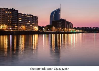 Panorama of Liege along Meuse River seen at evening. Liege, Wallonia, Belgium.