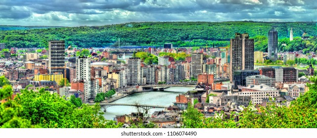 Panorama of Liege, a city on the banks of the Meuse river in Belgium, Europe