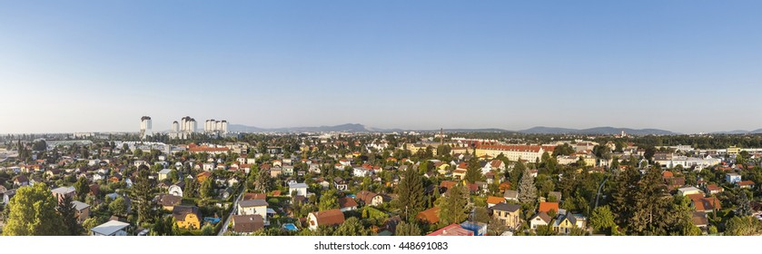 Panorama of Liesing 23rd district of Vienna with the residential complexes Alt-Erlaa. Its a city within the city Vienna with a complete infrastructure. The complexe is one of the largest in Austria.