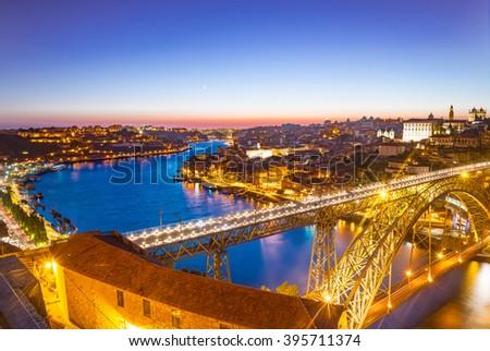 Panorama Lighted Famous Bridge Ponte Dom Stock Photo (Edit Now