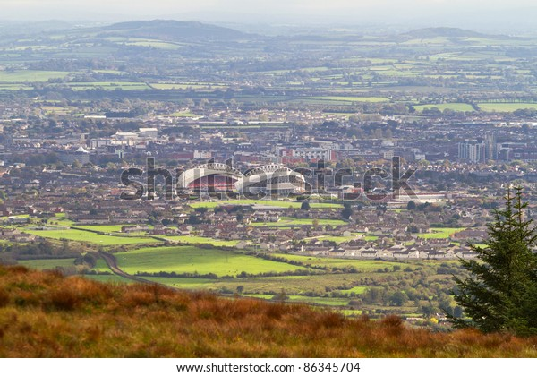 Panorama of Limerick city with stadium, Ireland