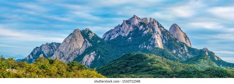panorama limestone mountains Bukhansan National Park mountain.Korea