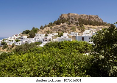 Panorama of Lindos with the castle above on the Greek Island of Rhodes.