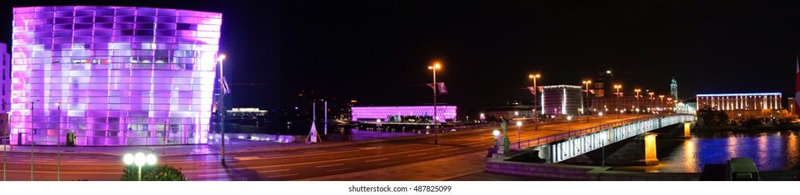 Panorama of Linz, Austria at night - Ars Electronica Center, Lentos,Nibelungenbridge