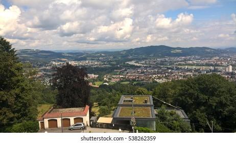 Panorama Linz Cityscape of Upper Austrian Landtag (Parliament), Austria.