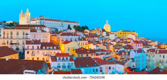 Panorama of Lisbon Old Town at twilight. Portugal