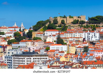Panorama of Lisbon (Portugal) with the castle