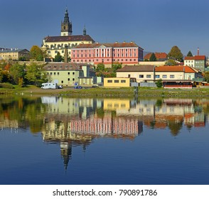 Panorama of Litomerice, it is a town on the confluence of the Elbe and Ohre river in Northern Bohemia (Usti nad Labem Region), Czech Republic
