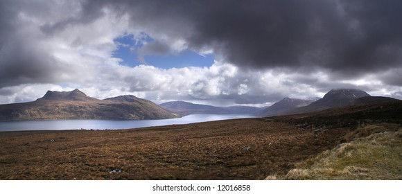Panorama of Little Loch Broom in northern Scotland