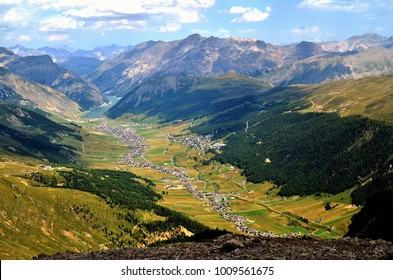 Panorama of Livigno in summer
